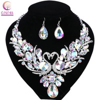 Wholesale Hot Pink Crystal Pendant - Wedding Gold Plated Chain Colorful Crystal Pendant Necklace Fashion Design Swan Jewelry Sets Necklaces Earring For Women