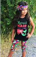 Wholesale Tank Girl Leggings - New mermaid Girls Outfits Printed Summer Children Suit 3pcs set Headbands +vest tank tops +leggings pants baby Clothes Infant Clothing A367