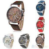 Wholesale Mens Leather Bracelets Brown - Mens Womens Fashion Faux Leather Band Quartz Analog Dress Bracelet Wrist Watch