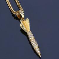 Wholesale Rocket Necklace - 2017 rocket hip-hop Pendant Necklace Diamond Hip Hop jewelry 18K Gold plated for men Long chains 75cm