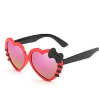 Wholesale Sunglasses Hello - Summer style 2017 New fashion Kids Sunglasses children cute baby Hello-Kitty glasses girls Sunglasses love heart shape 20pcs lot