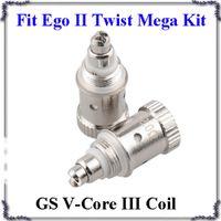 Wholesale gs ego twist mega kit resale online - GS V Core III Atomizer coils H2S V Core Bottom Dual Heating Coil ohm Fit Ego II Twist Mega Kits DHL