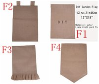 Wholesale 4Styles DIY Burlap Garden Flags quot Wx18 quot H DIY Jute Liene Yard House Decorative Hanging Flag Courtyard Printed Ads Flags Free Ship