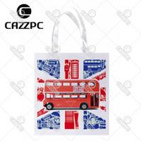 Wholesale British Flag Bags - Wholesale- The British Flag London Bus City Style Print Lightweight Polyester Fabric Reusable Grocery Bag Pack of 4
