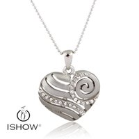 Wholesale White Gold Filigree - Sliver & gold filigree white crystal heart Pendant Necklaces environmental pretection electroplating women necklace Party evening