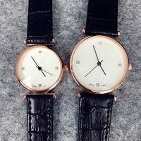 Wholesale Price Tagging - Fashion women man leather Dress Watch brown black lover watch wholesale price wristwatch Quartz famous brand Clock genuine leather