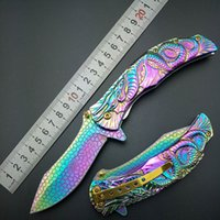 Wholesale Switch Knives - Dragon Rainbow Titanium Spring Assisted Open Folding Pocket Knife Cosplay Fade Collection Ballistic 3D Graphic open switch survival camping