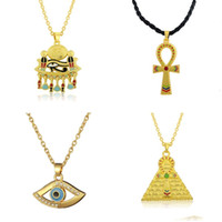 Vente en gros - Dawapara Ankh Pendant Cross Pyramid Evil Eye Of Horus Bijoux égyptiens Collier Homme Gold -color Chain Men