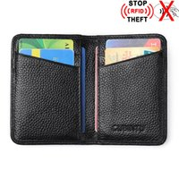 Wholesale Rfid Bags - RFID Wallet Card Holder 100% Genuine Leather Unisex Business Card Case Genuine Leather Bank Card Bag First Layer Of Cowhide Holders