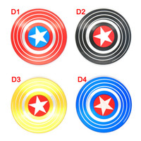 Wholesale Spin Tops Toys - Fidget Spinners Captain America Hand Spinner Zinc Alloy spinning top EDC Autism ADHD Finger Gyro Toy Adult Gifts spin 4minute in metal tin