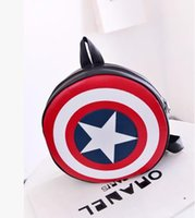 Wholesale captain america backpacks for sale - Group buy Backpacks American Bag Captain Patent Leather America Shield Polyester backpack preppy backpack circle Round bag Nylon Couple Backpack
