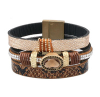 Wholesale Magnetic Bracelets Wholesale - Fashion Trends Multilayer Leather Bracelet Magnetic Clasp Black Brown Alloy Gems stone Bangles Jewelry High Quality