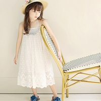 Wholesale Korean Clothing Crochet - 2017 New Summer Korean Girls Dresses Suspender Dress Crochet Lace Princess Dress White Party Dressy Long Style Kids Clothes Dresses A6063