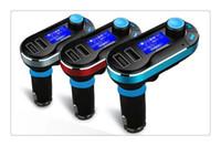 satış böğürtlen toptan satış-Yeni Sıcak Satış Bluetooth Araç Kiti Handsfree MP3 Çalar FM Verici Çift 2 USB Şarj Desteği SD Line-in AUX