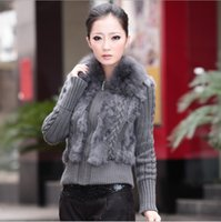 Wholesale Knitted Fox Fur Cardigans - Wholesale- 12 Colors Autumn Winter Knitted Women Cardigan Sweater With Fox Fur Collar Plus Size Women Clothing 4XL SH-10
