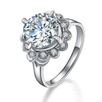 Wholesale synthetic diamond rings for women resale online - Solid Sterling Silver Ring Sunflower Ct Round Cut Synthetic Diamond Engagement Ring for Women White Gold Plate Jewelry