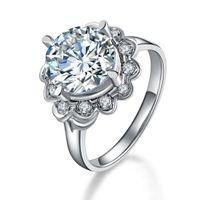 sterling sonnenblumen schmuck großhandel-Solide 925 Sterling Silber Ring Sunflower 4Ct Rundschnitt Synthetischer Diamant-Verlobungsring für Frauen Weißes Gold Platte Schmuck