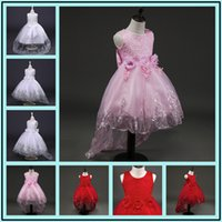 Wholesale Embroidery Applique Children - Flower Dress Summer Clothes 2017 Baby Wedding Veil Dresses Kids's Party Wear Costume For Girl Children Clothing