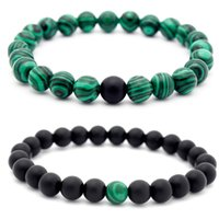 "Wholesale Handmade Stretch Bracelets - 8mm Malachite Handmade Gem Semi Precious Gemstone 6mm Round Beads Stretch Lover Friend Bracelet 7 ""Unisex Christmas Gift B672S"