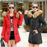 Wholesale Long Black Coat Feathers - 2017 Winter Women Down Coats Female Long Hooded Parka Jacket Thick Cotton Padded Outwear Fashion Black Red Army Green Coats