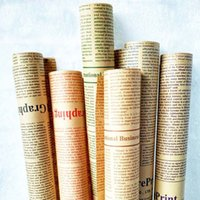 Wholesale Newspaper Wrapping - 48pcs lot-52*72cm English Newspaper Retro Letters Printing Flowers Wrapping Paper Packing Material Kraft Paper Package ZA3078