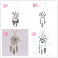 Wholesale Silver Dream Catcher - Fashion hot Pendant Necklaces 4 Styles Alloy Dream Catcher girl Necklace For Women Statement Necklace Jewelry NK27