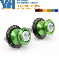Wholesale Spool Sliders - Colorful M10 Swingarm Sliders Spools fits for KAWASAKI Ninja ZX6R ZX7R ZX9R ZX10R ZX12R ZX14R Z1000 Z750 ZZR600 ZRX1100 9#