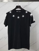 Wholesale Mens Dotted Shirts - 2017 new fashion summer t shirt men o-neck cotton Flocking pentagram 47 digital short sleeve mens t-shirt Men's Brand clothing