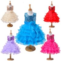Wholesale Cheap Cupcake Dresses - Princess Cheap Christening Baby Girl Wedding Girls Cupcake Pageant Sequin Bow Ruffle First Communion Dresses Toddler Glitz Floor Length Gown