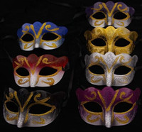 Wholesale most halloween costumes resale online - Unisex Sparkle Glitter Masquerade Venetian Mask Mardi Gras Party Mask Costume Decorations Assorted Colour One Size Fit Most