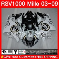 Wholesale Black Lucky Strike Fairing - Body For Aprilia RSV1000 R Mille RSV1000 03 04 05 06 07 08 09 76NO22 Lucky Strike RSV 1000R RSV1000R 2003 2004 2005 2006 2007 2009 Fairing