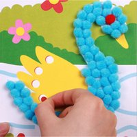 Wholesale Baby Stickers Craft - Wholesale- DIY Baby Kids Plush Ball Painting Stickers Children Educational Handmade Material Cartoon Puzzles Crafts Toy