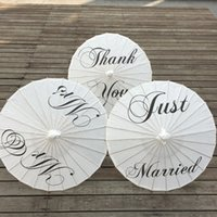 """Wholesale Wedding Just Married - Wedding Umbrella Craft Paper Umbrella with Bamboo Handle 3 Style """"Thank you"""" """"Just married"""" """"MR&MRS"""" Party Decoration Umbrellas"""