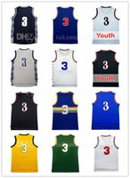 Wholesale Adult Jerseys - Men's 3 Allen Iverson Basketball Jersey Adult Throwback Mesh Embroidery Iverson University Sportswear Jerseys Youth Kid's Georgetown Retro