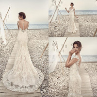 Wholesale Eddy K - 2017 Gorgeous Full Lace Wedding Dresses Eddy K Aires Mermaid Appliques Sheer Beach Cap Sleeve Vintage Lace Bridal Gowns Custom Made