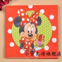 Wholesale Tissue Paper For Packing - Wholesale- 3 packs 60pcs Minnie Mouse Party Color Napkin Paper 100% Virgin Wood Tissue for birthday party decoration kids