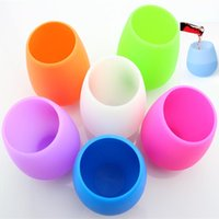 Wholesale Wholesale Candy Cups - Candy Color Silicone Wine Cup Unbreakable Stemless Rubber Beer Mug Outdoor Cup Glass Wine Glass Recyclable Drinking Cups WX-C26