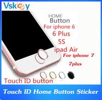 Wholesale Aluminum Home Button - 500pcs Metal Aluminum Touch ID Home Button Sticker for iPhone 7 Plus With Fingerprint Identification Function iPHONE 6 6s plus SE 5s