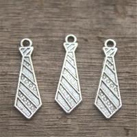 antik gümüş kravat toptan satış-25 adet-Kravat Takılar, Antik Tibet Gümüş Kravat charm kolye 30x10mm