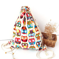 Wholesale Owl Print Ribbon - Nice- Womans Canvas Drawstring Backpack Owl Printed Colorful Teen Girl Backpack Children School Anime Bags Backpacks Bolsos De Playa