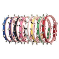 Wholesale Dog Spiked Real Leather - Spiked Studded Dog Collars Real Leather Necklace Adjustable Corium With Anti Bite Leash 4 Sizes Multi Color For dog Puppy cat collar