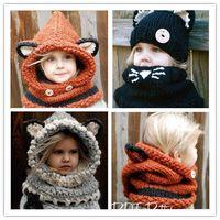 Wholesale Crochet Fox Scarf - Lovely Fashion Fox Ear Cat Winter Windproof Hats And Scarf Set For Kids Crochet Headgear Soft Warm Hat Baby Winter Beanies 1-10 Years