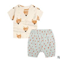 Wholesale Boys T Briefs - Baby summer clothing sets toddler kids fox printed short sleeve T-shirt+cartoon printed shorts 2 pc clothing sets boys cotton outfits T3021