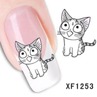 Wholesale Cute Cat Nail Design - Low price 1 pcs 62*52mm New Fashion Lovely Sweet Water Transfer 3D Grey Cute Cat Nail Art Sticker Wrap Manicure Decal DIY Design