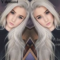 Wholesale platinum long wigs - Long hair Silver Platinum Blonde Lace Front Lace Wigs Synthetic Ash Blonde Straight Heat Resistant Fiber Wigs Middle Parting Wig