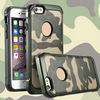 armure achat en gros de-New Army Camo 2 in1 Shield Cases Housse de protection camouflage robuste anti-choc hybride pour iphone 4 5 5s 6 6s Plus