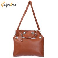 Atacado- Guapabien Mulheres Moda Brown Zipper Handbag PU Couro Long Strap Satchel Shoulder Bag Tote Ladies Messenger Hobos Bags Purse