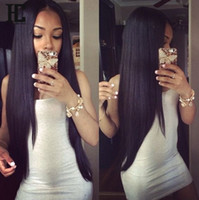 perruque en dentelle droite de 16 pouces achat en gros de-10A Grade brésilien perruques de cheveux humains pour les femmes noires Soie Droite Straight Lace Front perruques de cheveux humains 10-22 pouces Perruques de cheveux humains pour les femmes noires
