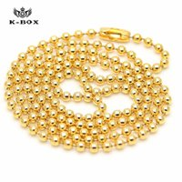 collar de joyas de bricolaje al por mayor-estilo clásico 3mm Granos de la Bola Cadena de Eslabones de Acero Inoxidable Collar 18 K Chapado En Oro Accesorios de BRICOLAJE Joyería de Moda
