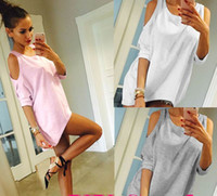 Wholesale Womens Long Sleeve White Shirts - Womens Off Shoulder Loose Shirt Fashion Ladies Summer Casual Blouse Top Shirt